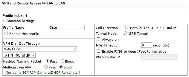 a screenshot of VPN Common Settings on Vigor Router