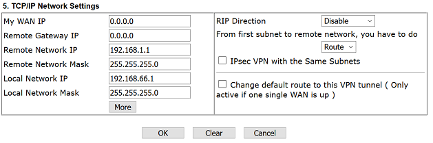 IP Network Settings of the IPsec VPN
