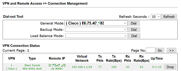 a screenshot of IPsec VPN connected successfully