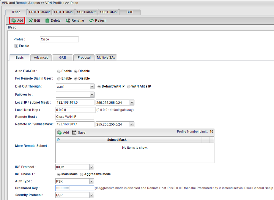 a screenshot of IPsec VPN Profile on Vigor3900