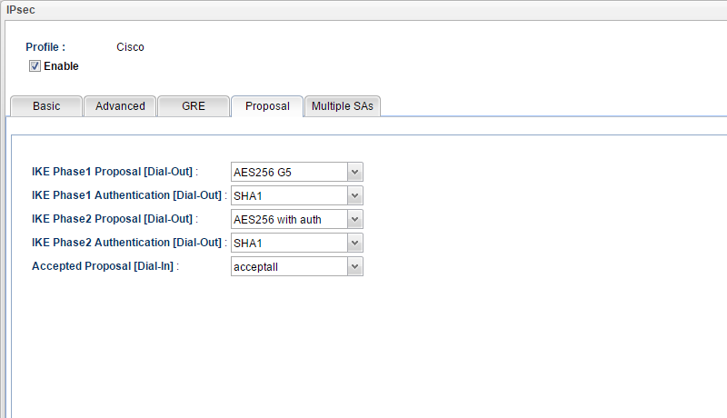 a screenshot of IKE Proposal Setup on Vigor3900