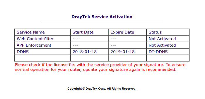 a screenshot of DrayOS Service Activation Wizard