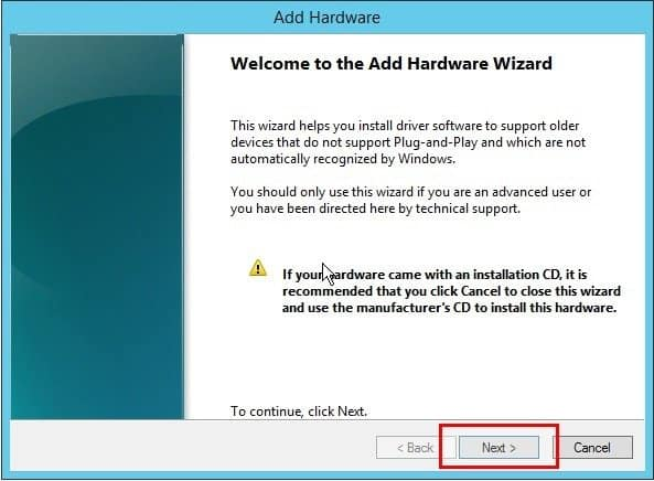 a screenshot of Windows Add Hardware Wizard