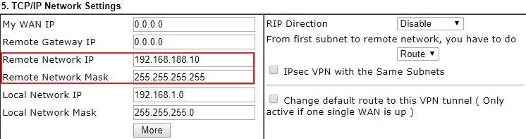 Remote network settings in the VPN profile