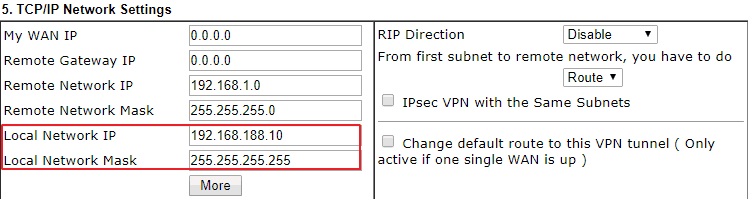 Local Network Settings in the VPN profile