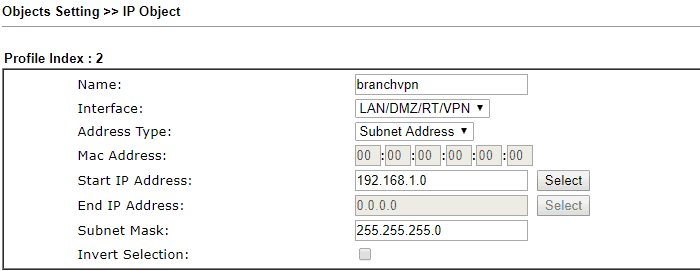 creating an IP object for the branch VPN network
