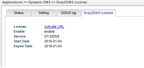 a screenshot of Vigor2960 DrayDDNS License page