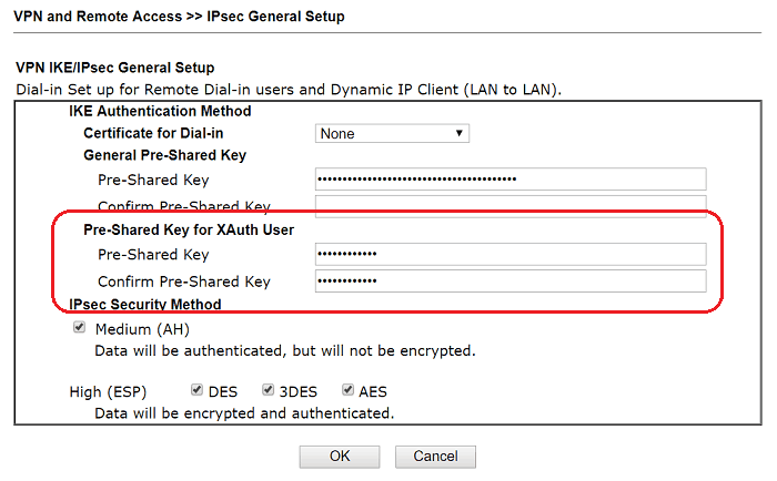 a screenshot of DrayOS PSK Settings of XAuth user