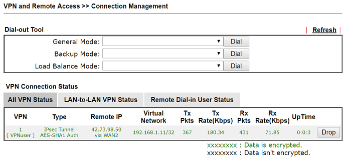 a screenshot of DrayOS VPN Status