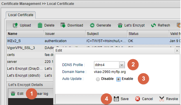 a screenshot of Vigor2960 applying for Let's Encrypt certificate