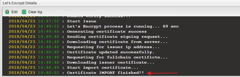 a screenshot of Vigor2960 finished applying for Let's Encrypt certificate