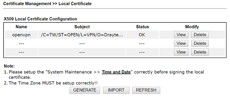a screenshot of DrayOS Local Certificate showing OK at Status