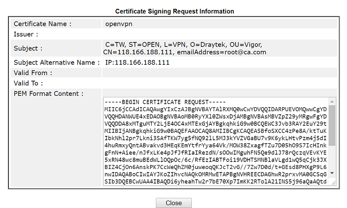a screenshot of DrayOS Certificate Signing Request