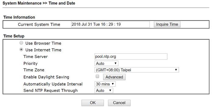 a screenshot of DrayOS Time and Date Settings