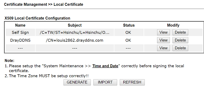 a screenshot of DrayOS local certificate page