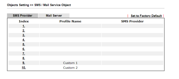 a screenshot of Mail/SMS server profile list