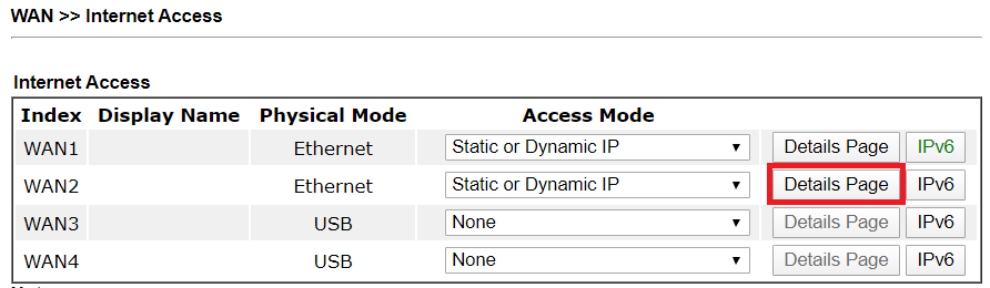 a screenshot of DrayOS WAN Internet Access List