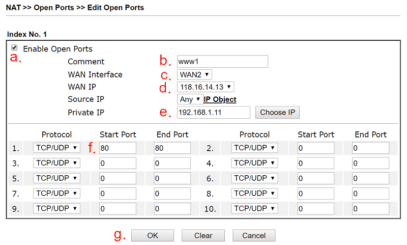 a screenshot of DrayOS open port settings