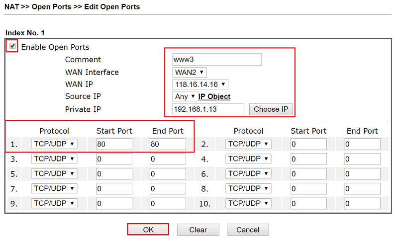 a screenshot of the third open port settings