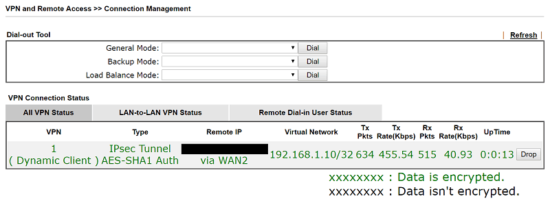 a screenshot of DrayOS VPN Connection Management