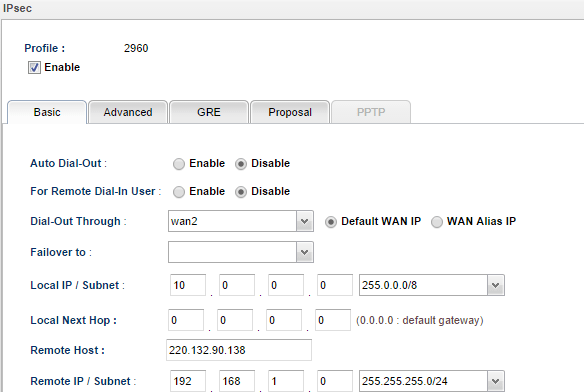 a screenshot of VPN Basic settings on Vigor3900
