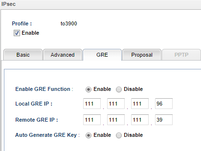 a screenshot of the GRE settings of the second VPN profile