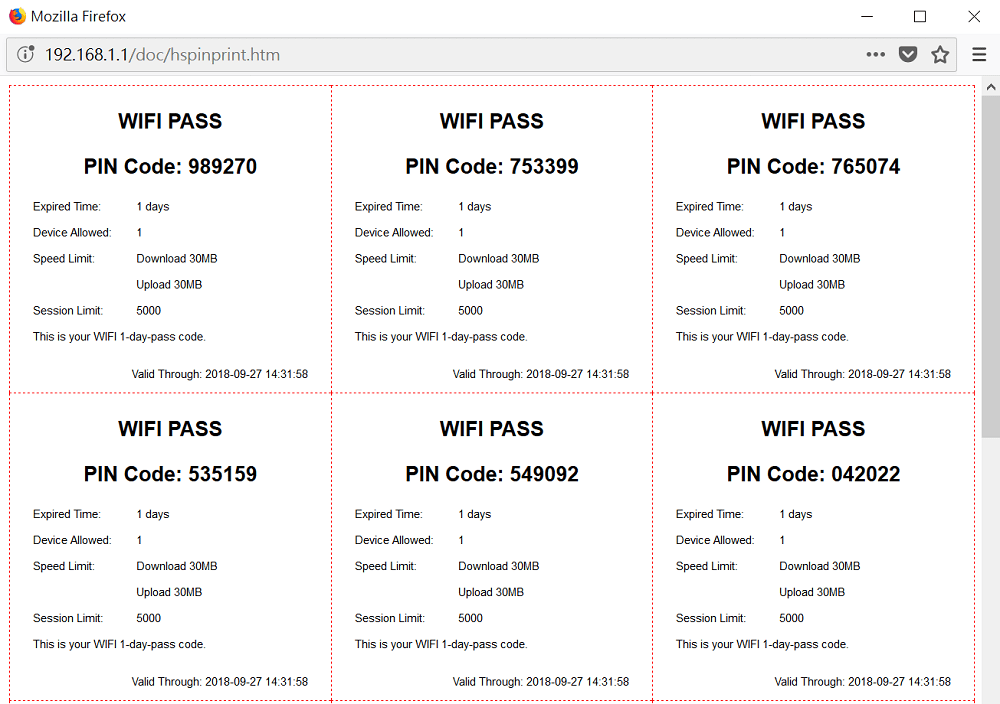 a screenshot of hotspot PIN list