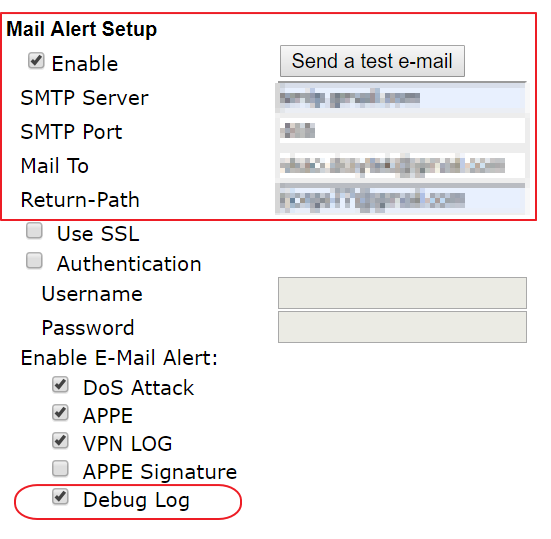 enable mail alert for sending the debug log
