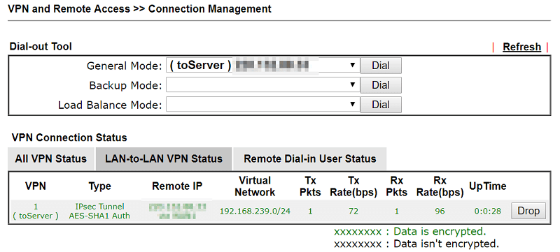 a screenshot of vpn status