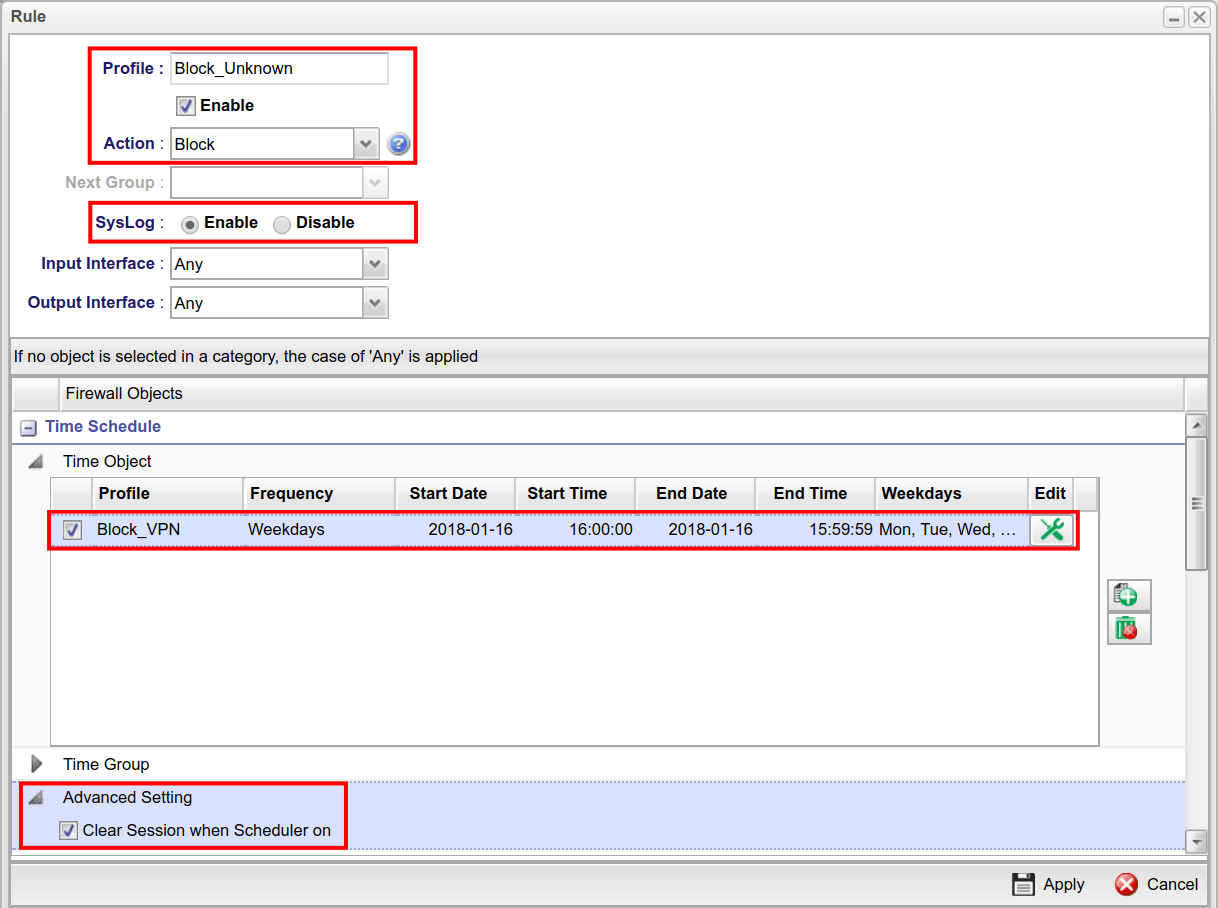 a screenshot of Vigor3900 Firewall Rule setup