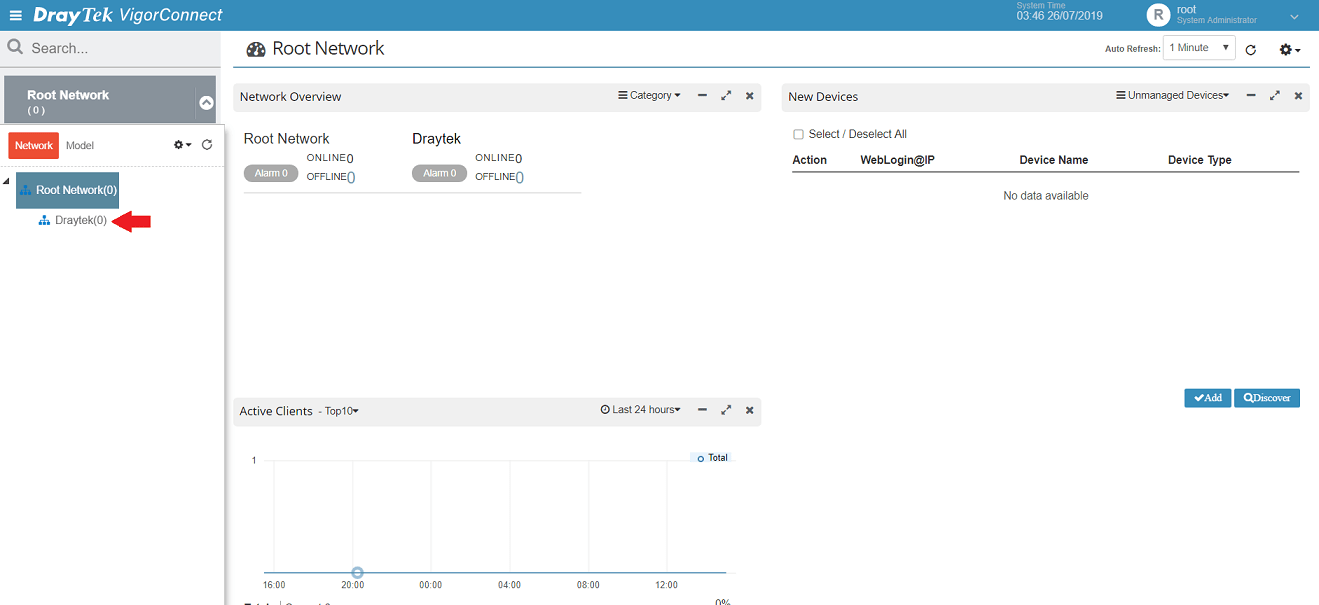 a screenshot of VigorConnect Root Network