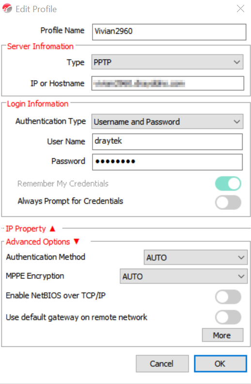 a screenshot of Smart VPN Client profile setup