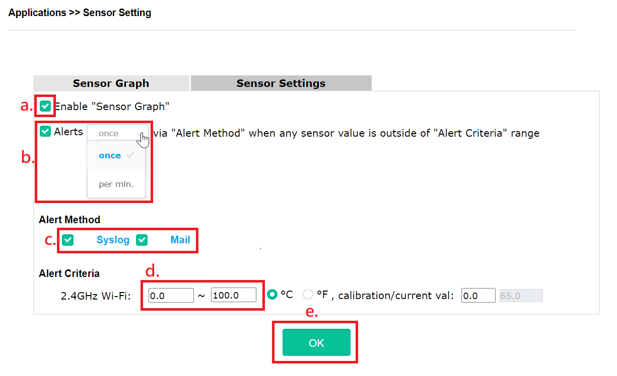 a screenshot of sensor setting