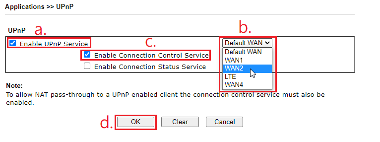 a screenshot of UPnP Settings
