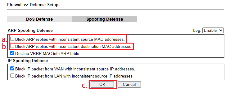 a screenshot of Spoofing Defense