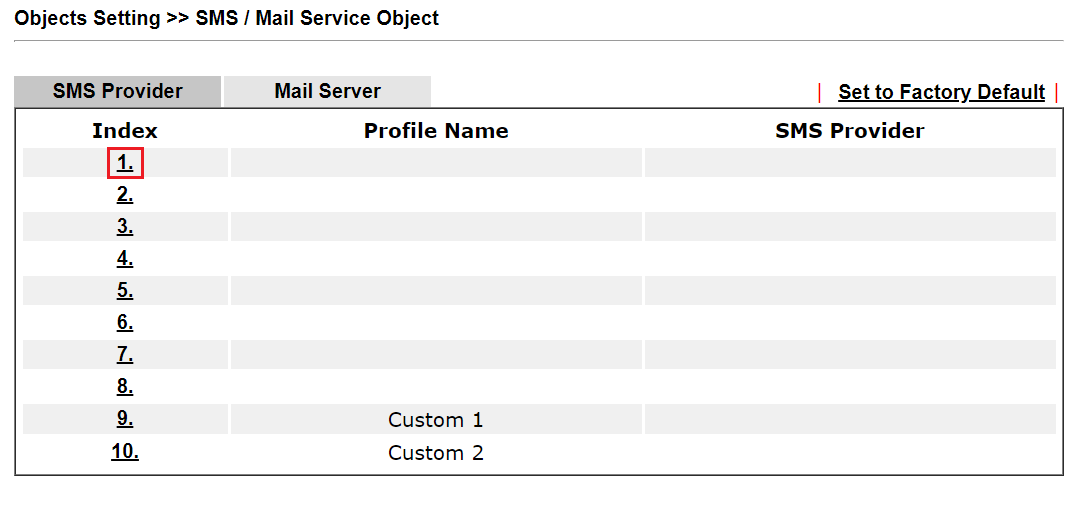 a screenshot of SMS/Mail Service Object page
