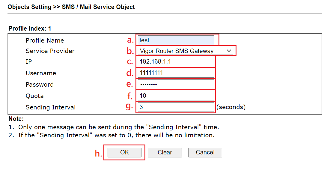 a screenshot of SMS/Mail Service Object