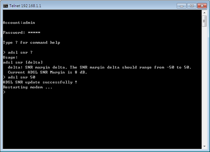 changin SNR in command-line interface.