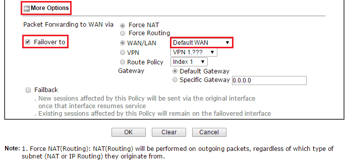 a screenshot of Route Policy settings more options expanded