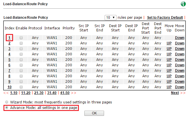 a screenshot of routing policy list