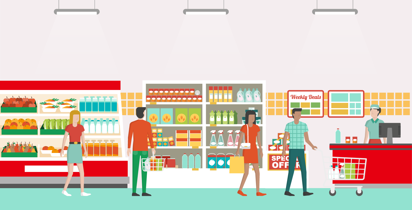 an illustration of food and grocery retail