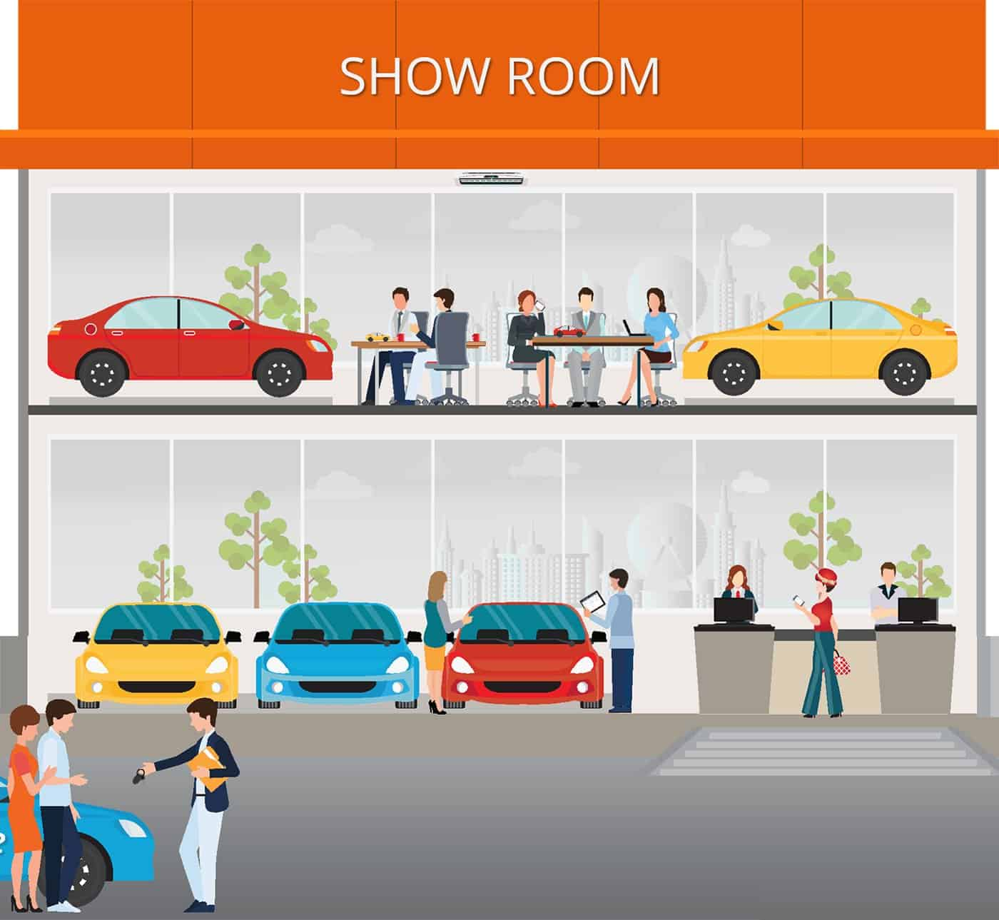 an illustration of automobile dealership