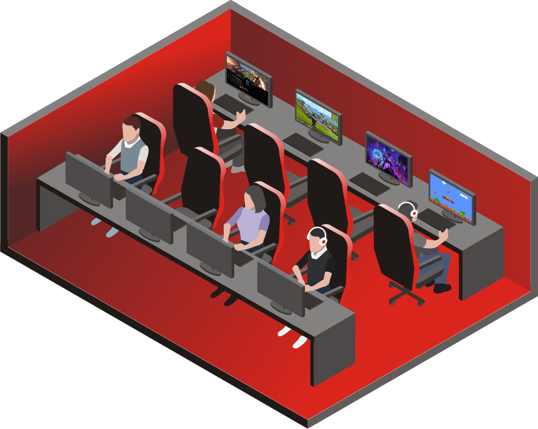 an illustration of internet cafe