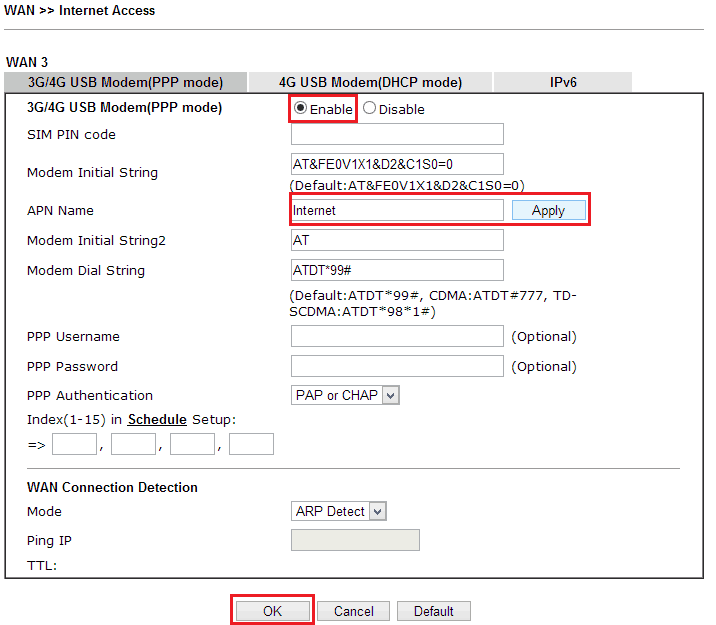 How to configure the USB dongle to provide 3G/4G/LTE WAN connection