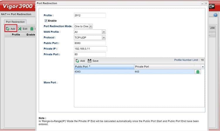 Vigor3900] How to use Port Redirection on Vigor3900? - DrayTek Corp