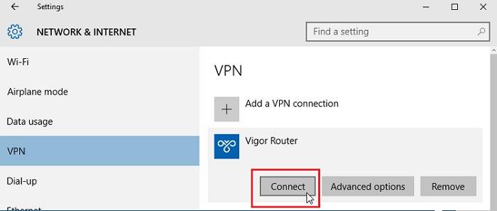 Windows 10 built-in VPN to Vigor Router - DrayTek Corp