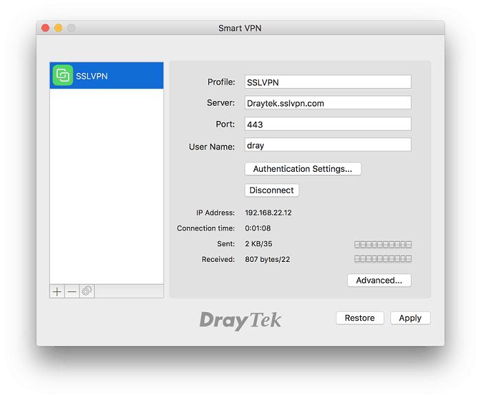 Draytek vpn client apple