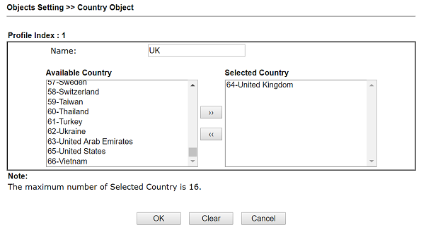 How to set the Firewall Rule with Country Object to restrict