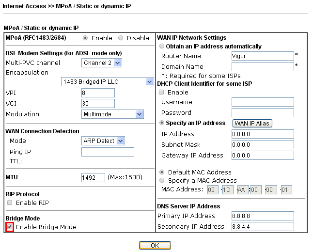 How to use PPPoE Pass-through and Bridge Mode on Vigor130