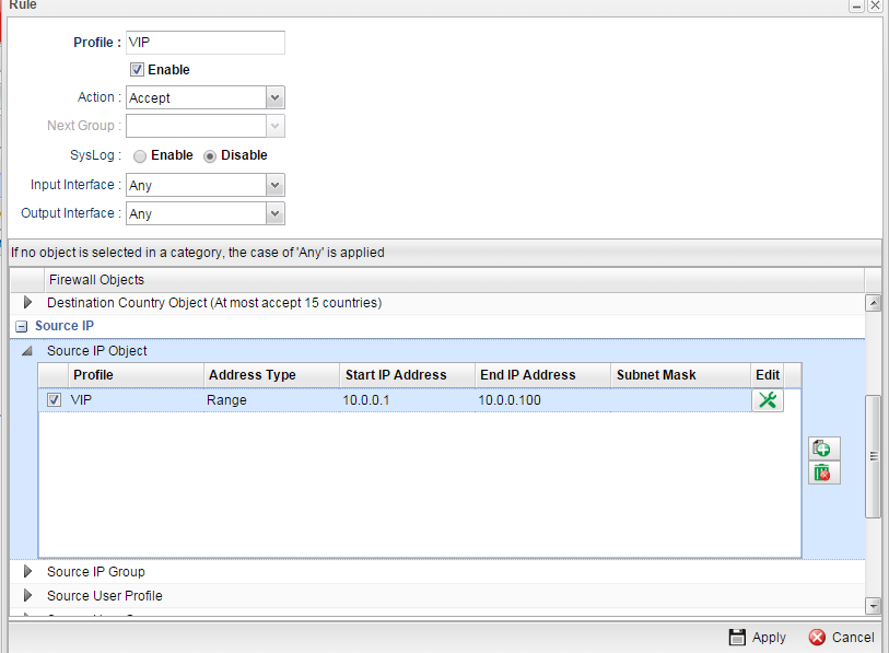 a screenshot of Firewall rule that has a source IP object selected